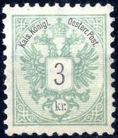 """** 1883, 3 Kr. Bläulichgrün Mit Kopfstehenden Und Seitenverkehrtem WZ - Buchstaben """"R"""", Postfrisch (ANK 45 Abart / Mi. 5 - Sin Clasificación"""