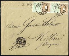 Cover 1883, Auslandsbrief Von Prag 14.10.1888 Nach Millau - Frankreich Mit 2 + 2 + 3 + 3 Kr. Frankiert (ANK 44+44+45+45) - Sin Clasificación