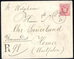 Cover 1887, 5 Kreuzer Ganzsachenumschlag Mit Rückseitiger Rekozusatzfrankatur 2+2+3+3 Kr. Von Haslau 9.2.87 Nach Hemer/W - Sin Clasificación