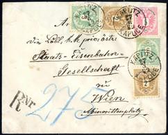 Cover 1889, 5 Kreuzer Ganzsachenumschlag Mit Vorderseitiger Rekozusatzfrankatur 2+2+3+3 Kr. Von Kaplitz 27.6.89 Nach Wie - Sin Clasificación
