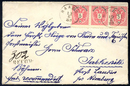 Cover 1889, Eingeschriebener Brief Von Raabs Am 10.6. Nach Jabkenitz Vorderseitig Frankiert Mit Dreierstreifen 5 Kr., AN - Sin Clasificación