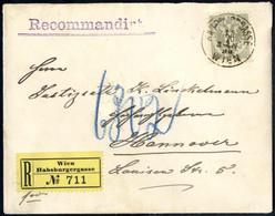 Cover 1890, Eingeschriebener Brief Von Wien Habsburggasse Am 15.7. Nach Hannover Frankiert Durch Doppeladler 20 Kr. Oliv - Sin Clasificación