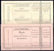 (*) 1888/89, Zwei Verschiedene Sprech-Karten Ohne Werteindruck, Type 869 (deutsch-bömisch) Und 868 - Sin Clasificación