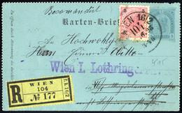 Cover 1890, Kartenbrief 3 Kr. Mit Zusatzfrankatur 5 Kr. Rot, Ausgabe 1890, Auf Rekommandiertem Beleg Von Wien 6.6.1898,  - Sin Clasificación