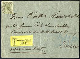 Cover 1891, Eingeschriebener Brief Von Warmbach-Villach Am 2.10. Nach Triest Frankiert Mit 20 Kr., Ungezähnter Reco-Zett - Sin Clasificación
