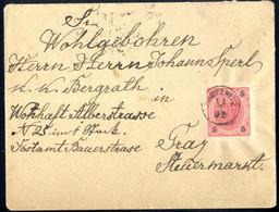 Cover 1892, Brief Mit 5 Kr. Kaiserkopf Entwertet Mit Fingerhutstempel Obetznitz Vom 15.2. Nach Prag, Selten, ANK 53 - Sin Clasificación