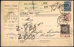 Cover 1893/4, Drei Postbegleitadressen Von Wien Nach Corfu, 1) Vom 17.7.1893 Mit 5 Kr. Werteindruck Und Zusatzfrankatur  - Sin Clasificación