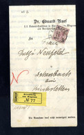 Cover 1894, Eingeschriebener Beleg Aus Kirchberg Am Wagram Auf 15 Kr. Rötlichlila, Rekozettel Ungezähnt, ANK 56 - Sin Clasificación