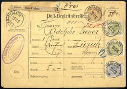 """Cover 1894, Postbegleitadresse Aus """"Ober-Ferlach"""" Am 15.11. Mit 50 Kr. Zusatzfrankatur (10+20+20 Kr) Nach Zürich, ANK 54 - Sin Clasificación"""