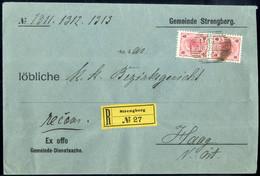 Cover 1895, Eingeschriebene Ex-Offo Dienstsache Von Strengberg Am 8.12. Nach Haag (N.Öst) Frankiert Mit Paar 5 Kr. (Reco - Sin Clasificación