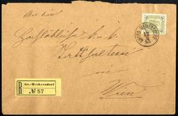 Cover 1895, Eingeschriebener Brief Vom 12.2. Aus Gross Weikersdorf Auf 20 Kr. Olivgrün Nach Wien, Rekozettel Ungezähnt,  - Sin Clasificación