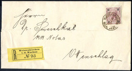 Cover 1895, Eingeschriebener Brief Vom 16.1. Aus Weissenkirchen Auf 15 Kr. Rötlichlila Nach Ottenschlag, Rekozettel Unge - Sin Clasificación