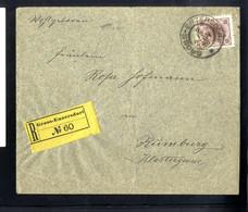 Cover 1896, Eingeschriebener Brief Vom 9.12. Aus Gross-Enzersdorf Auf 15 Kr. Rötlichlila, Nach Rumburg, Rekozettel Ungez - Sin Clasificación
