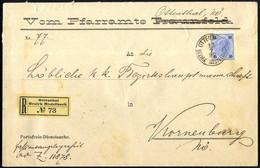 """Cover 1897, Eingeschriebener Dienstbrief Aus """"Ottenthal Bezirk Mistelbach"""" Am 15.7. Frankiert Mit 10 Kreuzer Ultramarin  - Sin Clasificación"""