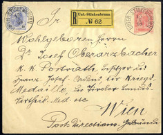 Cover 1899, Eingeschriebener Ganzsachenbrief Zu 5 Kr. (Großformat) Von Unt.-Stinkenbrunn Am 13.5. Nach Wien Zufrankiert  - Sin Clasificación