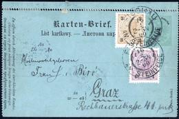 """Cover 1900, Kartenbrief 3 Kr. (ungültig) Mit Zusatzfrankatur 1 + 3 H. Von """"Fischau Am Steinfelde"""" Am 16.2. Nach Graz, Ph - Sin Clasificación"""