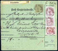 Cover 1900, Postbegleitadresse 5 Kr. Von Gross-Harras Am 21.1. Nach Cernowitz Mit 141 Kr. Zusatzfrankatur Vorder- Und Rü - Sin Clasificación