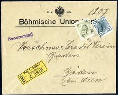 Cover 1900, Rekobeleg Aus Prag Frankiert Mit 40 Und 5 Heller Nach Baden, ANK 94+133 - Sin Clasificación