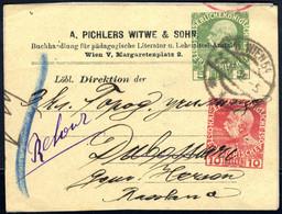 """Cover 1900/12, 6 Privatadressetiketten """"Pichlers Witwe"""" Mit Jeweils Verschiedenen Eindrucken, Nach Russland, Deutschland - Sin Clasificación"""