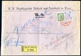 Cover 1901, 25 H. Ultramarin Und 35 H. Grün Auf Rekommandiertem Rückschein - Gerichtsbrief Von Prag 11.10.1902 Nach Bad  - Sin Clasificación