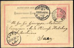 Cover 1901, Ganzsachenkarte 10 H. Karminrosa Von Sebenik Am 17.12. Nach Suez, Mi. P140 - Sin Clasificación
