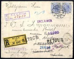 Cover 1902/06, 4 Briefe, Taxiert Von Pilsen Nach Mexiko, Reko Von Innsbruck Nach London Weiterfrankiert Und Retour, Reko - Sin Clasificación