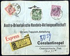 Cover 1902/08, 5 Briefe Ins Ausland, Einer Von Wien Am 4.9.07 Nach Genf, Einer Reko-Express Nach Constantinopel, Einer R - Sin Clasificación