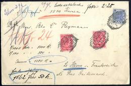Cover 1903, Wertbrief über 1500 Kronen Von Linz Am 1.11. Nach Le Havre (Frankreich) Frankiert über 2,25 K. Durch 25 Hell - Sin Clasificación