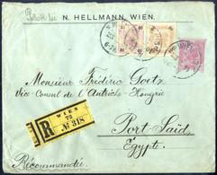 Cover 1904, 10 Heller Rekoganzsachenumschlag Aus Wien Vom 23.2.1904 Nach Port Said Mit Zusatzfrankatur 30 Und 60 Heller, - Sin Clasificación
