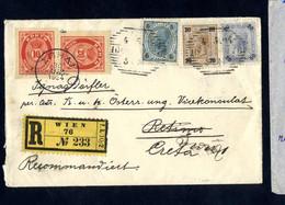 Cover 1904/08, Lot Fünf Auslandsbelege, Dabei Rekobrief Nach Kreta Mit Griechischen Marken Nachgesandt, Rekobrief Von Wi - Sin Clasificación