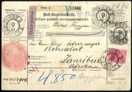 Cover 1905, Postbegleitadresse Aus Triest Vom 24.10.1905 über Alexandrien, Port Said Nach Zanzibar In Ostafrika Frankier - Sin Clasificación