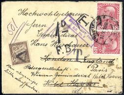 Cover 1905/12, 4 Belege Mit Französischen Nachportomarken, 1 Brief Nach London Weitergeleitet, Eine Ansichtkarte Retour  - Sin Clasificación