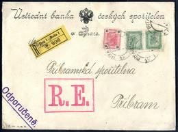 Cover 1907, Eingeschriebener Bankbrief Mit Empfangsschein Aus Prag Nach Pribram Frankiert über 80 H. Durch 10 H. Mit Lac - Sin Clasificación