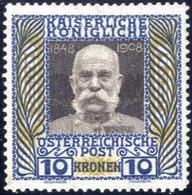 ** 1908, 10 Kronen Hellblau/dunkeloliv/ Schwarzbraun Kaiser Jubiläum, Postfrisch, Sehr Seltene Farbabart, Die Im Ferchen - Sin Clasificación