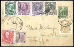 Cover 1908, 8 Mischfrankaturen Kaiserkopf Und Kaiser Franz Joseph Jubiläum, 6 Briefe (3 Eingeschrieben), Eine Glückwunsc - Sin Clasificación