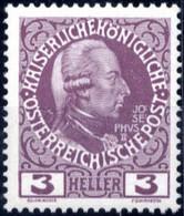 ** 1908, Franz Joseph Jubiläum 3 H Dunkelgraulila, Dickes Papier, Postfrisch, Befund Stastny, ANK 141vy - Sin Clasificación