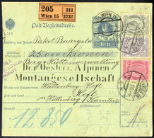 Cover 1908, Post-Begleitadresse Von Wien 15 Am 7.1. Nach Hüttenberg, Vorderseitig Frankiert Mit 1+2+4 Kr Und Rückseitig  - Sin Clasificación