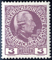 ** 1908, Regierungsjubiläum, 3 H. Rotlila Auf Gekreidetem Kartonpapier, Postfrisch, Befund Soecknick, ANK 141y / 600,- - Sin Clasificación