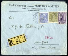 Cover 1908/13, Jubiläum, Reko - Expressbrief Der 4. Gewichtsstufe Von Wien 10.11.1914 Nach New York Mit 25 H. + 30 H + 1 - Sin Clasificación