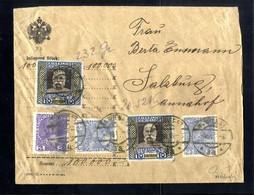 Cover 1908/13, Jubläum, Wertbrief über 100000 Kronen Von Wien 8.8.1916 Nach Salzburg Für Insgesamt 20,52 Kronen Mit Zwei - Sin Clasificación