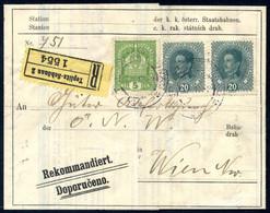 Cover 1909/18, Avisoschein Für Ein Noch Nicht Abgeholtes Paket Mit Franz Joseph 10+35 H., Dazu Sehr Seltene Nachträglich - Sin Clasificación
