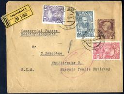 Cover 1910, 3 Heller Privatganzsachenschleife Als Geschäftspapier Vom 20.10.10 In Die USA, Als Einschreiben Aufgegeben M - Sin Clasificación