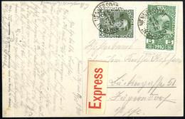Cover 1910, 35 Heller Express-Karte Von Hennersdorf/Schlesien Vom 11.10.10 Nach Jägerndorf Mit Ausgabenmischfrankatur 30 - Sin Clasificación