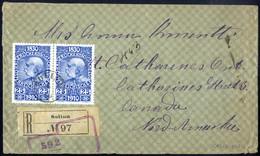 Cover 1910, 65 Heller Rekobrief Von Solina/Galizien Vom 6.9.10 Nach St. Catherines / Canada, Rückseitig Diverse Durchgan - Sin Clasificación