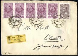 Cover 1910, Eingeschriebener Brief Von Prag Am 22.11. Nach Olmütz Frankiert Durch 80 Jahre Franz Joseph, Fünferstreifen  - Sin Clasificación