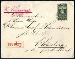 Cover 1910, Express-Brief Der 2. Gewichtsstufe Von Steinitz Nach Schönberg Frankiert Durch 80 Jahre Franz Joseph, 50 H.  - Sin Clasificación