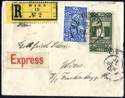 Cover 1910, Portogerechter Reko-Express Ortsbrief Aus Wien Vom 31.12.10 (Letztag) Frankiert Mit 25 Und 50 Heller, Pracht - Sin Clasificación