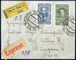 Cover 1910, Portogerechter Reko-Expressbrief Vom 29.10.10 Aus Prag Nach Wien, Prachterhaltung, ANK 170, 171 - Sin Clasificación