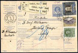 Cover 1913, Paketbegleitschein Zu 10 H. Mit Zusatz 30 H. 5 + 10 Kr. Jubiläumsausgabe, Für 3 Pakete Von Landeck In Die Sc - Sin Clasificación