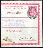 Cover 1915, Postauftragskarte 10 H. Deutsch-böhmisch Nach Dobruska - Unclassified